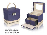 かわいいデザイン紫色の革宝石箱