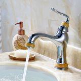 Robinet en laiton de peinture de jade de taraud de salle de bains pour le bassin de récipient