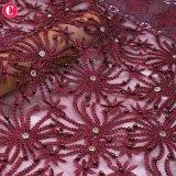 Il tessuto molle di vendita caldo Tulle del merletto 3D di colore rosso di vino borda nuziale