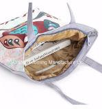 Мешок плеча холстины сумки покупкы Tote шаржа пляжа женщин вскользь