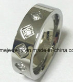 Anillo de diamante del acero inoxidable de señora Fashion Jewelry (CZR2521)