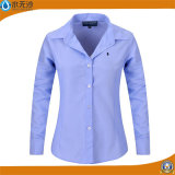 Fabrik Soem-Frauen-Baumwollblusen nehmen passende Form-Ebenen-Hemden ab
