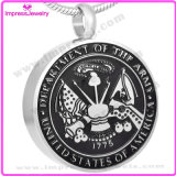 Rundes Tag Cremation Urn Pendant Necklace, Ashes Keepsake Holder für USA Army (IJD8418)