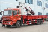 Tonnes lourdes de camion de Dongfeng 6*4 les 16 ont monté avec le camion se pliant de grue de bras