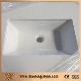 Parte superior branca pura da vaidade do banheiro da pedra de quartzo