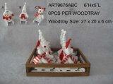 """6 """" Hx5 """" L la Navidad del regalo de la decoración del hogar del invierno en la madera Sled-3asst"""