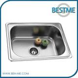 Único dissipador do aço inoxidável da cozinha da bacia (BS-638)