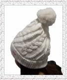 Jacquard liso chapéu feito malha do Beanie com punho e esfera (1-3523)