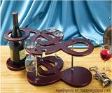 Crémaillère en bois classique et élégante en verre de crémaillère de bouteille de vin