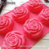 Folhas de cozimento de borracha do queque do alimento Shaped vermelho do silicone de Rosa