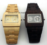 남자를 위한 디지털 방수 아날로그 나무로 되는 손목 시계