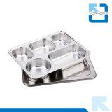 Caja del almuerzo de 304 del acero inoxidable 5 del compartimiento envases de alimento con la tapa