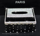 Rectángulo de almacenaje creativo de la bandeja del papel del hogar de la taquilla del tejido del Rhinestone de cristal de múltiples funciones (TB-014)