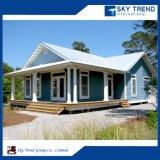 Marco de acero portátil Villas modulares prefabricados Casa con el panel sándwich de acero y perfil