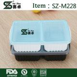 Wegwerfmittagessen-Kasten u. Mittagessen-Schnellimbiss-Kasten u. rechteckige Nahrung Bx der Plastikzwei Zellen-1000ml