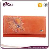 Верхний бумажник флористический, высокое качество женщин кожи с сохранённым природным лицом бумажника женщин