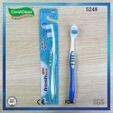 Toothbrush de nylon ascendente fresco da cerda de Du Pont com o raspador de lingüeta combinado