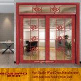 Porta deslizante de vidro de madeira interior com cinzeladura elegante (GSP3-020)