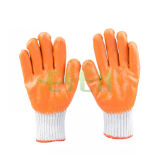 7 Gauge Orange Latex Coated Palm Gants, Industrial Protective Safety Working Cotton Fibre Dipped Gloves