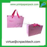 Sac de papier de cadeau rose recyclable de luxe de mode avec la bande de couleur