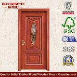 Porta de madeira contínua do quarto única com vidro geado (GSP3-006)