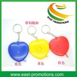 2m Mini Heart Design Retractable Tape Measure Keychain Promotionnel