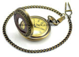 Reloj Pocket mecánico de madera de bronce de la vendimia con los números romanos