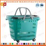 Kundenspezifische Plastiksupermarkt-kaufende bewegliche Korb-Karre mit Rädern (Zhb97)