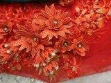 Tessuto francese in rilievo del merletto di Tulle della mano per il vestito da partito