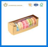 Kundenspezifischer faltbarer preiswerter PapierverpackenMacaron Kasten (Belüftung-Fenster Macaron Kasten)