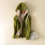 100%년 Zip Hooded Hoodie 폴리에스테 숙녀 Berber에 의하여 일렬로 세워지는 숙녀 스웨트 셔츠