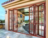 Projeto material de alumínio das portas do pátio do vidro de deslizamento do acordeão triplicar-se do empilhador do frame com grade decorativa