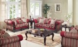 La Tabella classica del tessuto del sofà dell'oggetto d'antiquariato di amore della presidenza americana della sede ha impostato con il blocco per grafici di legno