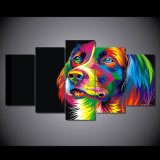 HD Printed Colorful Dog Painting Canvas Print Room Decor Print Poster Picture Canvas Mc - 067