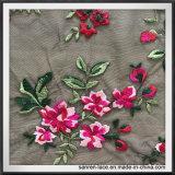 Embroideriedの活発な花のレースの多色刷りの網の刺繍のレース