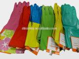 Longs gants rouges DHL442 de latex de ménage de manchette