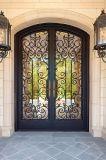 Diseño doble superior de la puerta de la seguridad del hierro labrado del buen arco barato