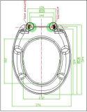 Couvercle estampé réglable de siège des toilettes de salle de bains avec la fin de doux