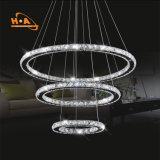 Do cristal redondo da lâmpada do pendente de três luz de suspensão anéis
