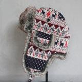 Снежок Mens женщин Unisex ягнится шлем бомбардировщика маск крышки бомбардировщика авиатора крышек уха кота Beanie связанный шарфом (HW804)