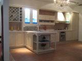 Gabinete de cozinha branco da ferragem do tipo de Blum da madeira contínua da pintura de N&L