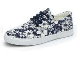 Printed Flower를 가진 여자의 Flat Canvas Shoes
