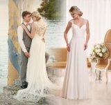 Платье венчания Yae39 пляжа изготовленный на заказ Bridal официально шнурка мантий шифоновое