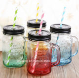 500ml 16oz Fancy Colored Drinking Glass Mason Jar met Handle en Straw