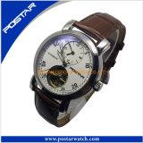 本革バンドを持つ人のための熱い販売の自動腕時計