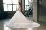 Vestido de casamento cheio nupcial G17259 da faixa da cor-de-rosa do laço do vestido de esfera das luvas longas