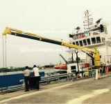 Pliegue hidráulico telescópico de la pluma de la grúa marina nave