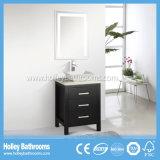 Gabinete de banheiro clássico vendável da madeira contínua com espelho do diodo emissor de luz (BV133W)