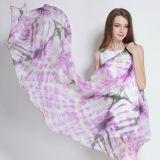 Lenço roxo Amarrar-Tingido Paj de seda confortável e macio