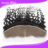 Baby Hair (F-006)를 가진 Ear Lace Frontal에 8A 브라질 Virgin Hair Deep Wave Full Lace Frontal Closure Bleached Knots 13X4 Virgin Human Hair Ear